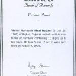 Vishal Nagani's Limca Book of Records Certificate