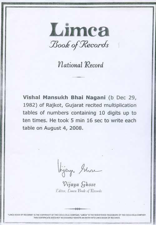 Vishal Nagani's Limca Book of Records Certificate