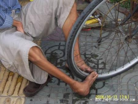 Handicapped punctured tire repair