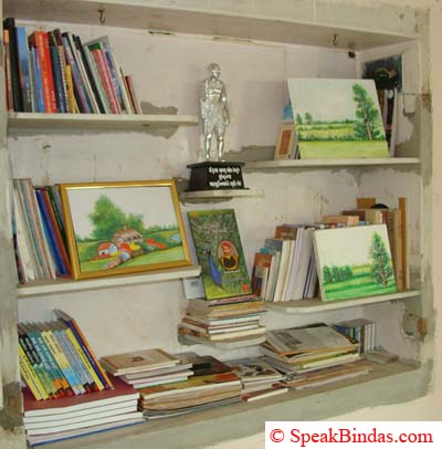 A cupboard where he keeps his books and paintings.