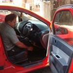 Suresh Lalan driving his car
