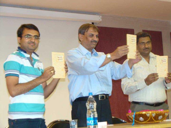 L to R: Devang Vibhakar (writer), Ashok Dave, Kaushik Mehta
