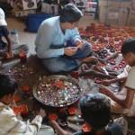Kids making the Diwas – handmade