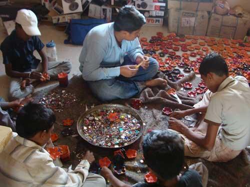 Kids making the Diwas - handmade