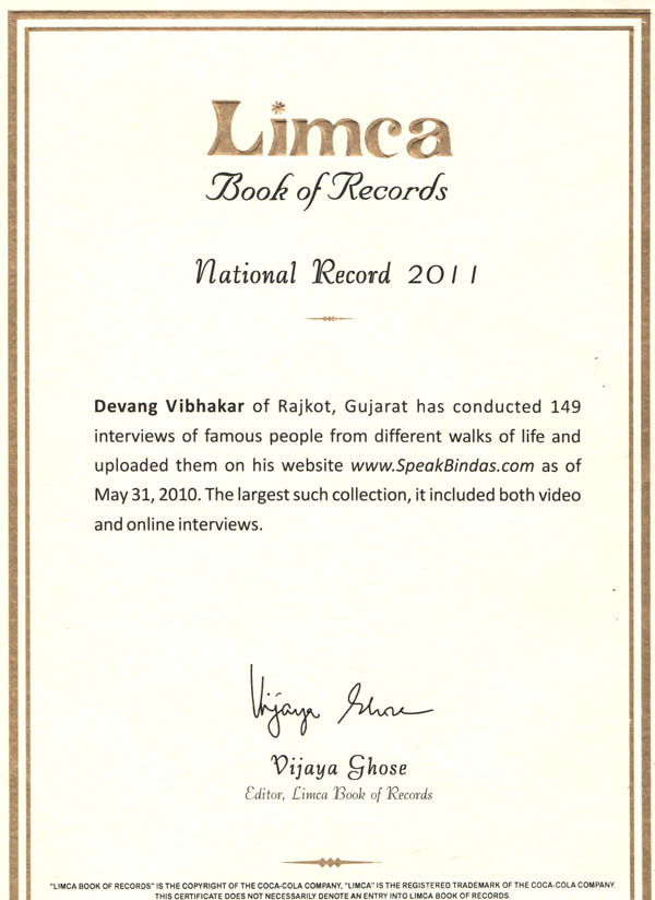 National Record - Limca Book of Records to Devang Vibhakar for SpeakBindas