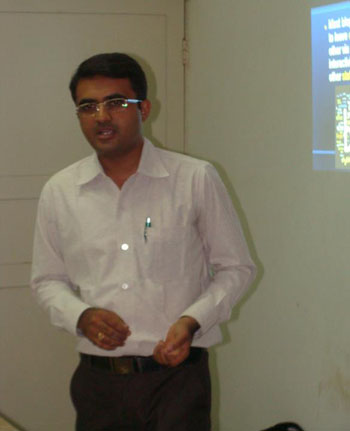 Devang Vibhakar delivering a lecture at Department of Social Work of Saurashtra University