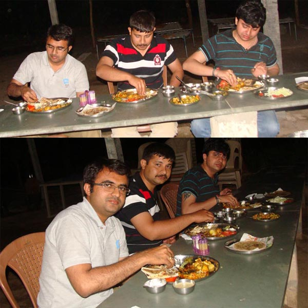 Having dinner with friends - Naimish Madiya & Sunny Rathod.