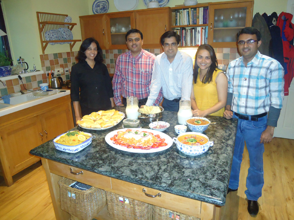 Our team after preparation of Pau-Bhaji & Pulao: L to R - Tejal Rajput, Dr. Snehal Lokhandwala, Himal Pandya, Mirani Patel, Devang Vibhakar