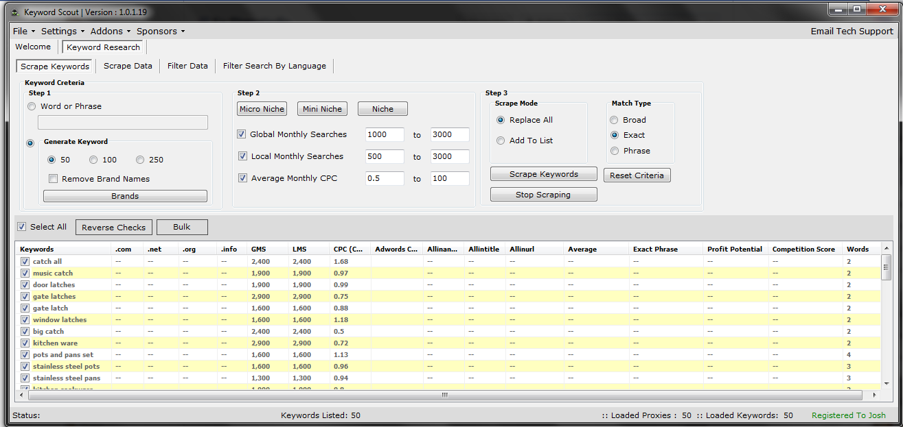 Screenshot of his software - click on the Image for a larger view