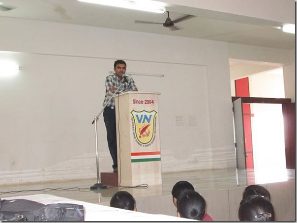 Devang Vibhakar Giving Information about AFS organization at Vidya Niketan school