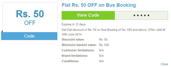 Redbus coupon on CupoNation